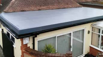 Flat roofing membrane used on rear extension